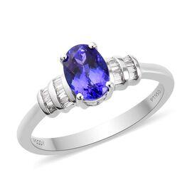 RHAPSODY 1.10 Ct. AAAA Tanzanite and Diamond Ring in 950 Platinum VS EF