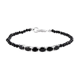 One Time Deal-Boi Ploi Black Spinel (Ovl) Beads Bracelet (Size 7.5) in Sterling Silver 15.25 Ct.