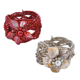 Set of 2 - Coral and Cream Colour Beads Cuff Bangles (Size 7)