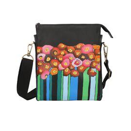 SUKRITI 100% Genuine Leather Multi Colour Poppy Crossbody Bag (Size 29.5x25x4cm) with Detachable and