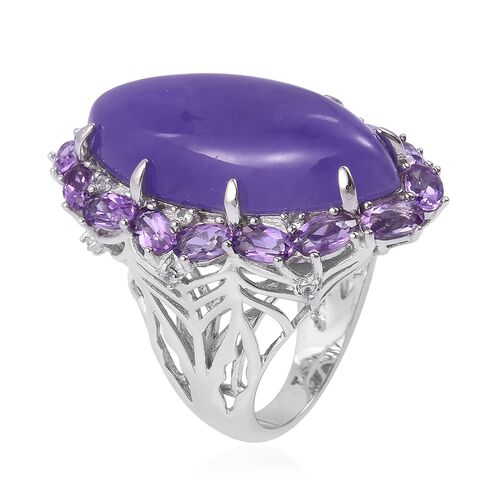 Purple Jade (Mrq 23.75 Ct), Rose De France Amethyst and Natural White Cambodian Zircon Ring in Platinum Overlay Sterling Silver 27.300 Ct. Silver wt 7.49 Gms.