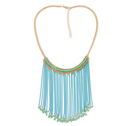Simulated Aventurine Blue Colour Waterfall Necklace (Size 18 with 2 inch Extender) in Yellow Gold Tone