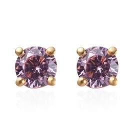 Elanza Simulated Kunzite Stud Earrings (with Push Back) in 14K Gold Overlay Sterling Silver 0.57 Ct.