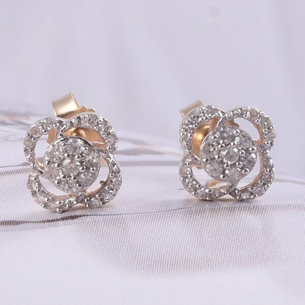 9K Yellow Gold SGK Certified Diamond (I3/G-H) Floral Stud Earrings 0.20 Ct.
