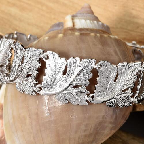 Designer Inspired Oak Leaf Bracelet (Size 7.5) in Silver Plated