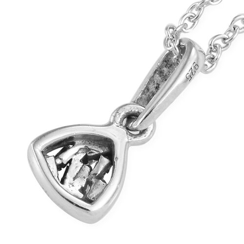Diamond Platinum Overlay Sterling Silver Pendant With Chain  0.040  Ct.