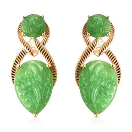 Carved Green Jade Floral Drop Earrings (with Push Back) in Yellow Gold Overlay Sterling Silver 12.75