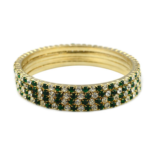 4 Piece Set - Light Green and White Austrian Crystal Bangle (Size 7) in Gold Tone