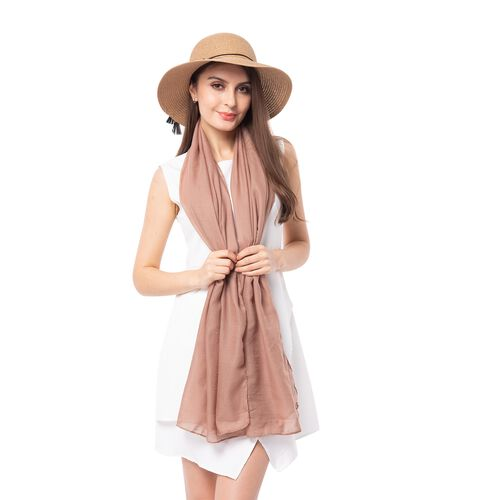 Light Brown Solid Colour Scarf (Size 180x70 Cm) with Rose Flower Pattern Hat and tassels with bowknot (Size 34x14 Cm)