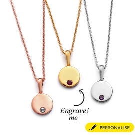 Personalised Initial Engraved and Birthstone Disc Pendant with Chain in Silver