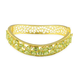 15.08 Ct Hebei Peridot and Zircon Wave Design Bangle in Gold Plated Sterling Silver 7.5 Inch