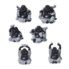 Set of 6 - Lucky Laughing Buddha Statue (Size 42x10x5 Cm) - Black and Grey