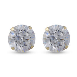 One Time Close Out Deal- 9K Yellow Gold Swarovski Zirconia Stud Earrings (with Push Back) 2.70 Ct.