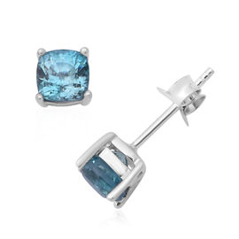 Blue Zircon Solitaire Stud Earrings with Push Back in Rhodium Plated Silver