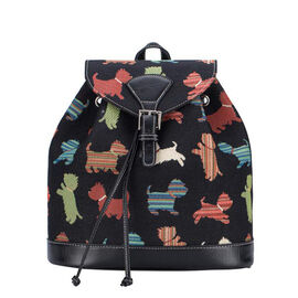 Signare - NEW Rucksack in Playful Puppy Design Backpack (25x13x28 cms) - Black