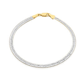 Italian Made 9K Yellow and White Gold Diamond Cut Reversible Bracelet (Size 7.5), Gold wt 3.00 Gms.