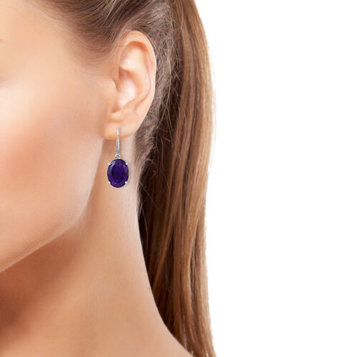 Rare Size Amethyst (Ovl) Lever Back Earrings in Rhodium Plated Sterling Silver 15.500 Ct.
