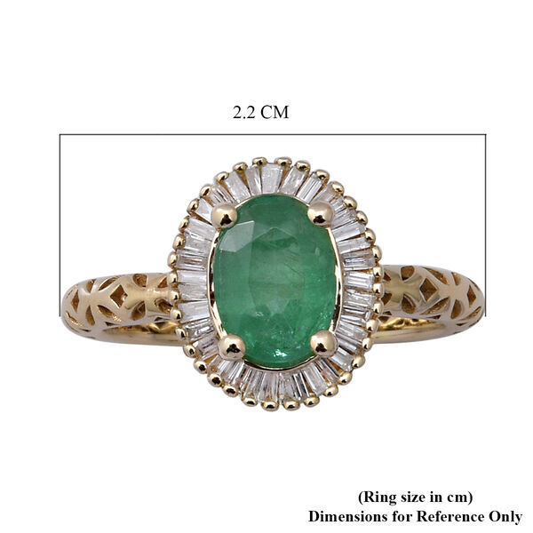 9K Yellow Gold Kagem Zambian Emerald and Diamond Ring 1.42 Ct.