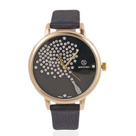 STRADA Japanese Movement White Austrian Crystal Studded Celebration Watch with Black Colour Strap