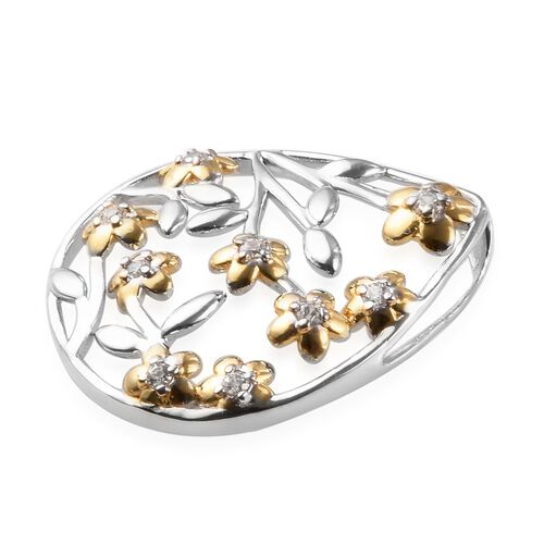 J Francis - Platinum and Yellow Gold Overlay Sterling Silver Floral Pendant Made with SWAROVSKI ZIRCONIA