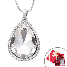 3 Piece Set - Simulated Diamond, White Austrian Crystal Pendant with Chain (Size 24 with 3 inch Exte