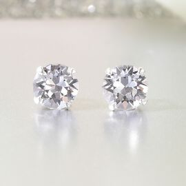 J Francis - Crystal From Swarovski - White Crystal Stud Earrings (with Push Back) in Sterling Silver