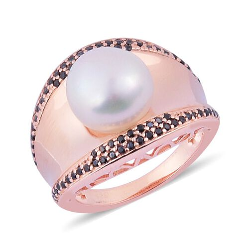 Freshwater White Pearl (Rnd), Boi Ploi Black Spinel Ring in Rose Gold Overlay Sterling Silver