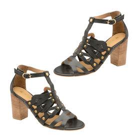 Ravel Jackson Leather Heeled Sandals in Black Colour