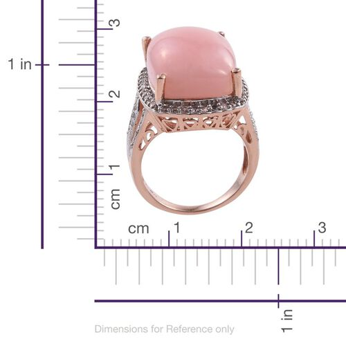 Peruvian Pink Opal (Cush 14.00 Ct), Natural Cambodian Zircon Ring in Rose Gold Overlay Sterling Silver 15.000 Ct.