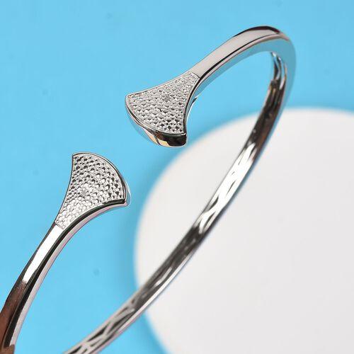 Diamond Cuff Bangle in Platinum Plated 7.5 Inch