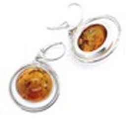 Natural Baltic Amber Lever Back Earrings in Sterling Silver, Silver wt 11.06 Gms