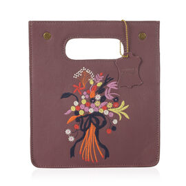 Close Out Deal-100% Genuine Leather Red Colour Floral Embroidery Cut-out Handle Structured Bag (Size