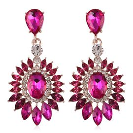 Designer Inspired Simulated Ruby and White Austrian Crystal Earrings in Rose Plated