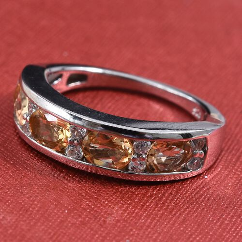 Golden Imperial Topaz (Ovl), Natural Cambodian Zircon Ring in Platinum Overlay Sterling Silver 2.00 Ct.