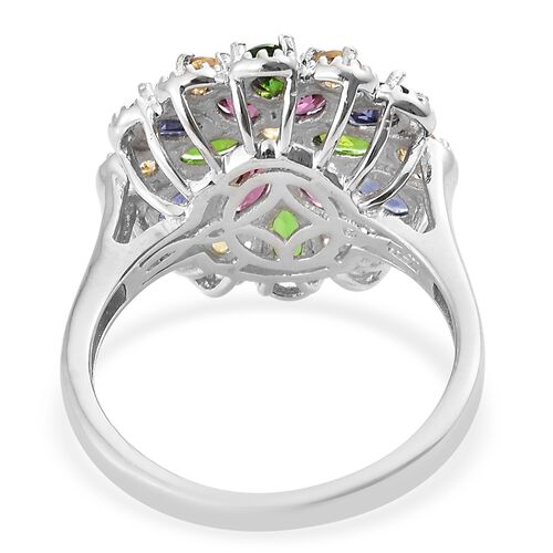Citrine (Rnd), Rhodolite Garnet, Russian Diopside and Iolite Flower Ring in Platinum Overlay Sterling Silver 3.500 Ct. Silver wt 5.00 Gms.