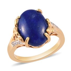GP Lapis Lazuli, Natural Cambodian Zircon and Blue Sapphire Ring in 14K Gold Overlay Sterling Silver