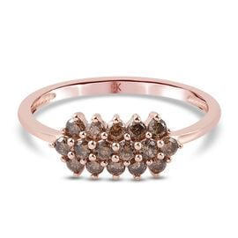 9K Rose Gold SGL Certified Champagne Diamond (I3) Cluster Ring 0.50 Ct.