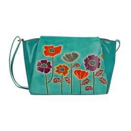 SUKRITI 100% Genuine Leather Floral Print Poppy Design Crossbody Sling Bag (Size 32x8x20 Cm) - Teal