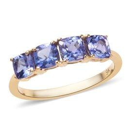 9K Yellow Gold AA Tanzanite (Cush) Ring 1.30 Ct.