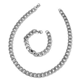 Stainless Steel Flat Curb Necklace (Size 20) and Bracelet (Size 8)