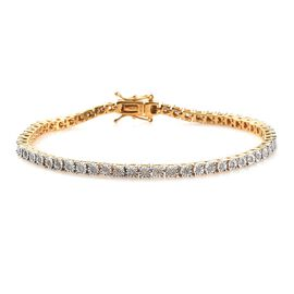 Diamond (Rnd) Tennis Bracelet (Size 7.5)  in 14K Gold Overlay Sterling Silver 0.750 Ct., Silver Wt.