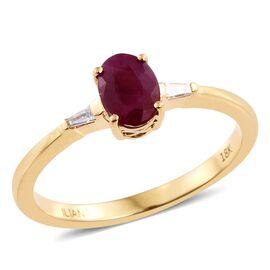 ILIANA 18K Yellow Gold Burmese Ruby (Ovl), Diamond Ring 1.000 Ct.