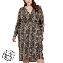 NOVA OF LONDON Curve Wrap Midi Dress - Brown