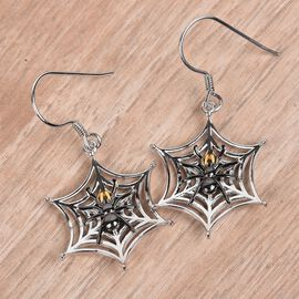 Platinum, Yellow Gold and Black Overlay Sterling Silver Spider Web Hook Earrings, Silver wt 5.40 Gms