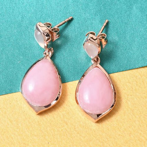 Sundays Child - AA Peruvian Pink Opal, Sri Lankan Silver Moonstone Drop Earrings (with Push Back) in Rose Gold Overlay Sterling Silver 9.25 Ct.