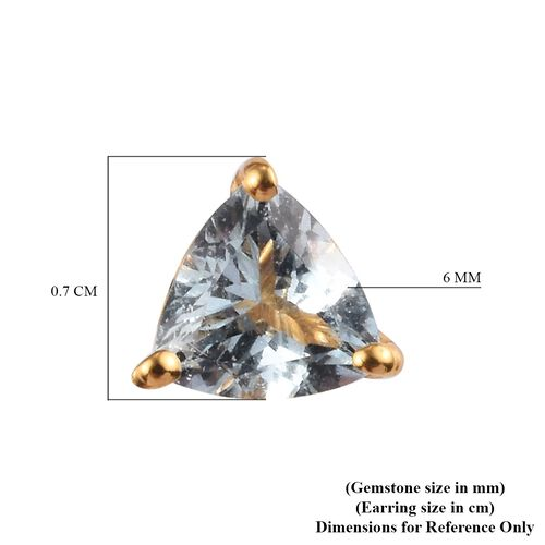 Santa Teresa Aquamarine Stud Earrings (with Push Back) in 14K Gold Overlay Sterling Silver 1.25 Ct.