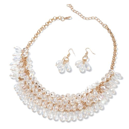 Set of 2- Multi Colour Simulated Diamond Beads Necklace (Size 20) and Earrings in Gold Plated