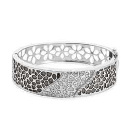 Signature Collection-J Francis - Platinum Overlay Sterling Silver (Rnd) Swarovski Zirconia Bangle (S