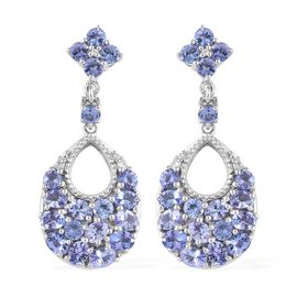 Tanzanite (Ovl and Rnd), Natural White Cambodian Zircon Dangle Earrings (with Push Back) in Platinum