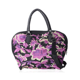 SHANGHAI COLLECTION Black and Purple Colour Flower Pattern Tote Bag with Adjustable and Removable Sh